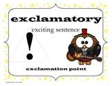 Types of Sentences - Owl Theme (Yellow Polka-Dot Background)
