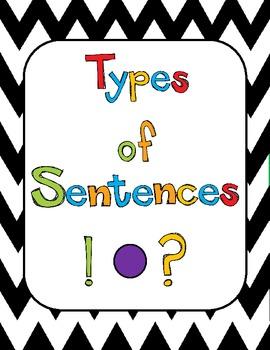 Types of Sentences Poster Chevron set
