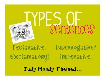 Types of Sentences - Poster Set + - Judy Moody Themed