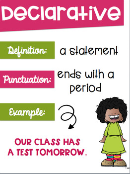 Types of Sentences Posters with a Colorful Cute Kids Theme