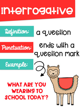 Types of Sentences Posters with a Llama Alpaca Theme
