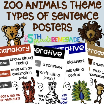 Types of Sentences Posters with a *Zoo Animals* Theme