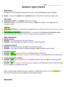 Types of Sentences Practice (KEY) - Simple, Compound, Complex, Compound-complex