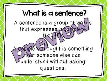 Types of Sentences Presentation- Lower and Upper Grades Bundle