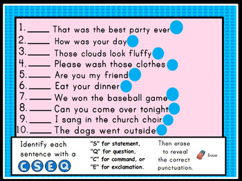Types of Sentences Promethean ActivInspire Flipchart Lesson