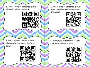 Types of Sentences QR Code Task Cards
