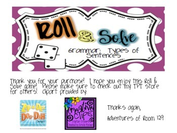 Types of Sentences Roll & Solve Game