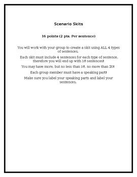 Types of Sentences Scenario Skits