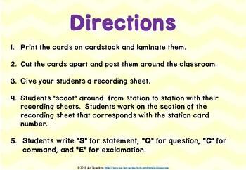 Types of Sentences Grammar SCOOT or Task Cards