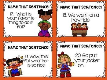 Types of Sentences Scoot Fall Themed