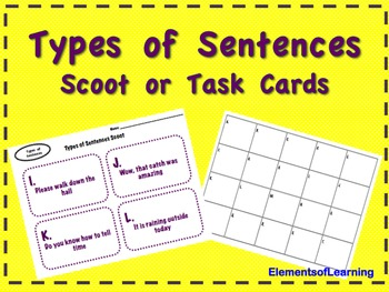 Types of Sentences Scoot/ Task Cards