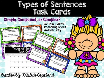 Types of Sentences: Simple, Compound, Complex Task Cards