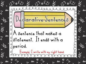 Types of Sentences Sort and Posters-Back to School Theme-Literacy Center