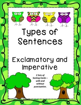 Types of Sentences Sorting Activity Exclamatory and Imperative