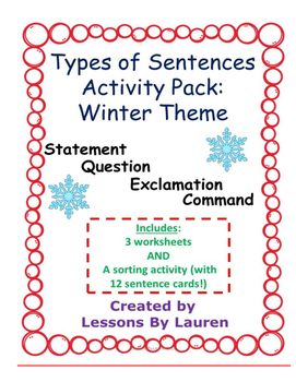 Types of Sentences Activity Pack (Winter Theme)