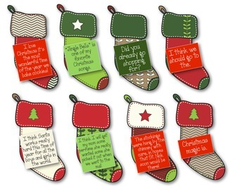 Types of Sentences Stocking Sort Christmas Bundle