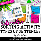 Sentence Types Structure, Grammar Game, Hands-On, Great for Learning Stations