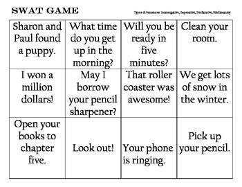 Types of Sentences - Swat Game