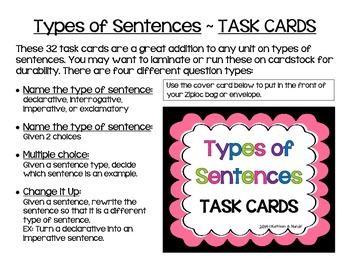 Types of Sentences: Task Cards