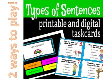 Types of Sentences Task Cards and Boom Cards
