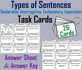 Types of Sentences Task Cards 3rd 4th 5th Grade