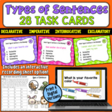 Types of Sentences Task Cards: Declarative, Imperative, Interr., Exclamatory