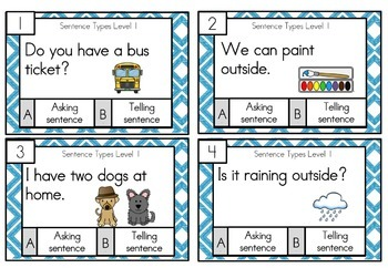 Types of Sentences Task Cards Differentiated Freebie