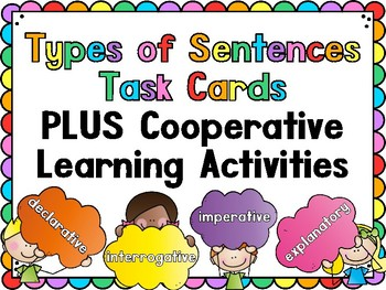 Types of Sentences Task Cards PLUS Cooperative Learning Activities