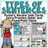 Types of Sentences Task Cards, Posters, and PowerPoint Game