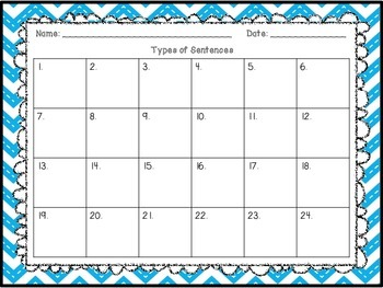 Types of Sentences Task Cards / SCOOT