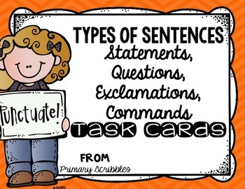 Types of Sentences Task Cards (Statement, Question, Exclamation, Command)