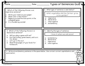 Types of Sentences Task Cards and Quiz
