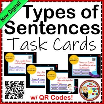 Types of Sentences - Task Cards w/ QR Codes!  Dec./Exc./Imp./Inter.
