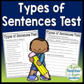 Types of Sentences Test: 2 Versions Included! {Types of Sentences Quiz}