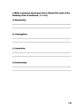 Types of Sentences Test