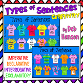 Types of Sentences Tshirt Craftivity: Declarative, Imperative, Interr., Exclam