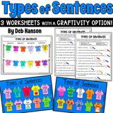 Types of Sentences Tshirt Craftivity: Declarative, Imperat