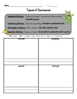 Types of Sentences Unit Pack / Resources plus Kaboom 2 game