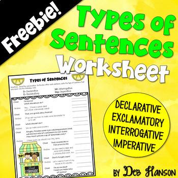 Types of Sentences Worksheet FREEBIE