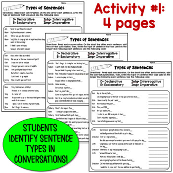 of Sentences Worksheets: Declarative, Imperative, Interr., Exclam