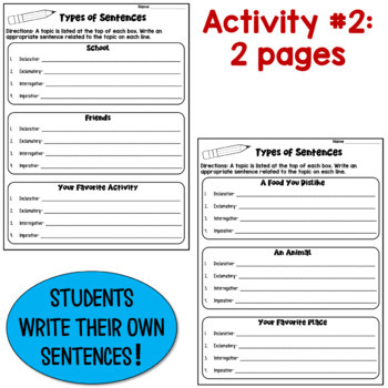 Types of Sentences Worksheets: Declarative, Imperative, Interr., Exclam