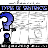 Types of Sentences Worksheets- Telling and Asking Sentences