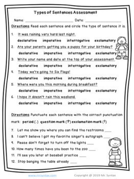 The Four Types of Sentences Worksheets and Assessment Grades 3 to 5