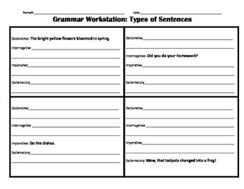 Types of Sentences Workstation