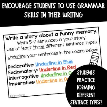 Types of Sentences Writing Task Cards