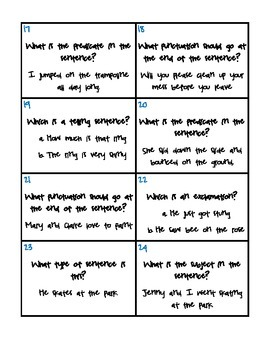 Types of Sentences and Subject/Predicate Scoot Game