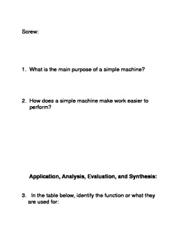 Types of Simple Machines Common Core Reading and Writing Activities