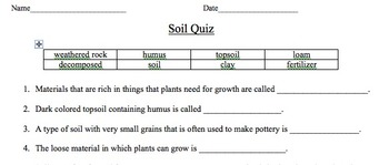 Types of Soil Quiz/Worksheet