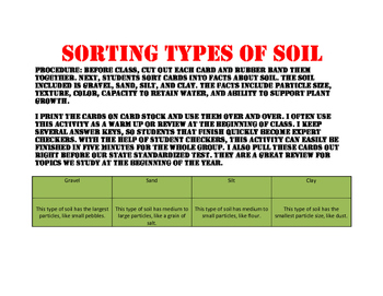Types of Soil Sort