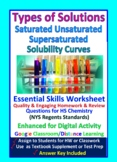 Types of Solutions, Saturated, Solubility Curves: Essential Skills Worksheet #26